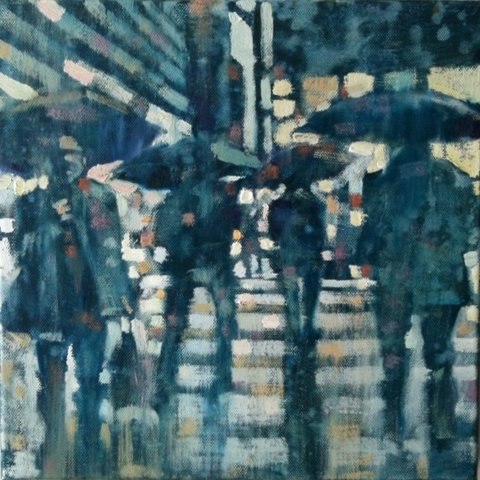"David Hinchliffe ""Crossing Broadway"" Oil on Canvas 12"" x 12"""