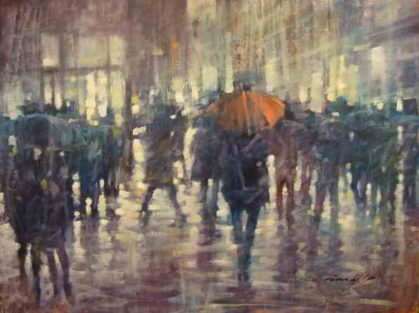 "David Hinchliffe ""Red Umbrella"" Oil on Canvas 30"" x 40"""