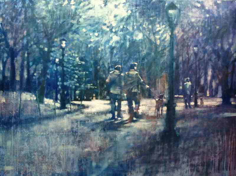 "David Hinchliffe ""Standoff in Central Park"" Oil on Linen 30"" x 40"""