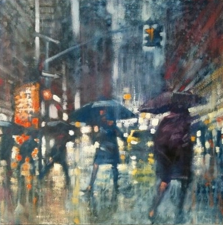 "David Hinchliffe ""Study for Rain"" Oil on Canvas 18"" x 18"""