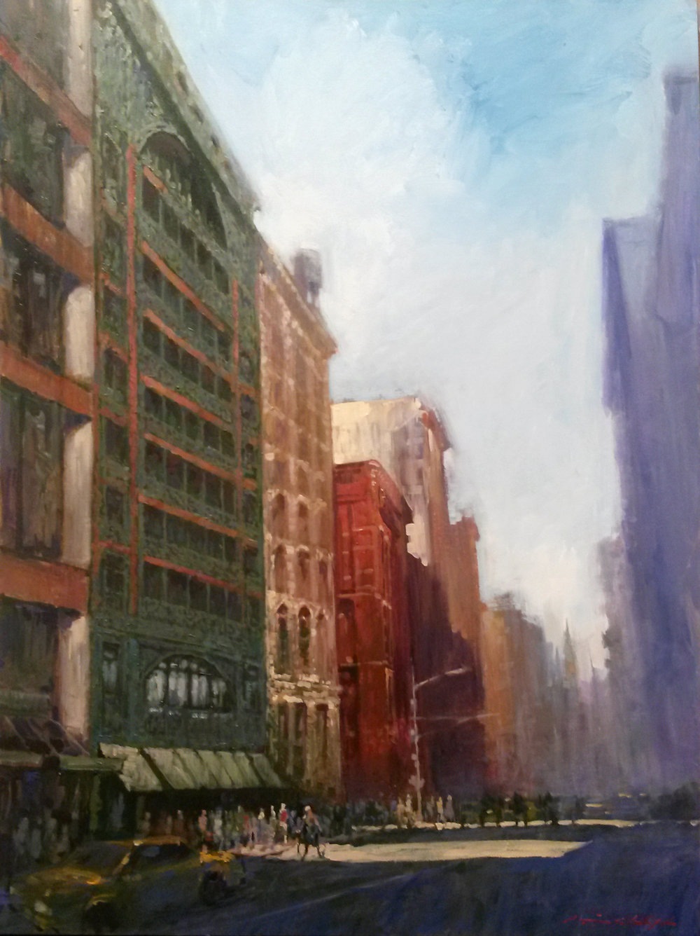 "David Hinchliffe ""The Singer, Broadway"" Acrylic and oil on Canvas 30"" x 40"""