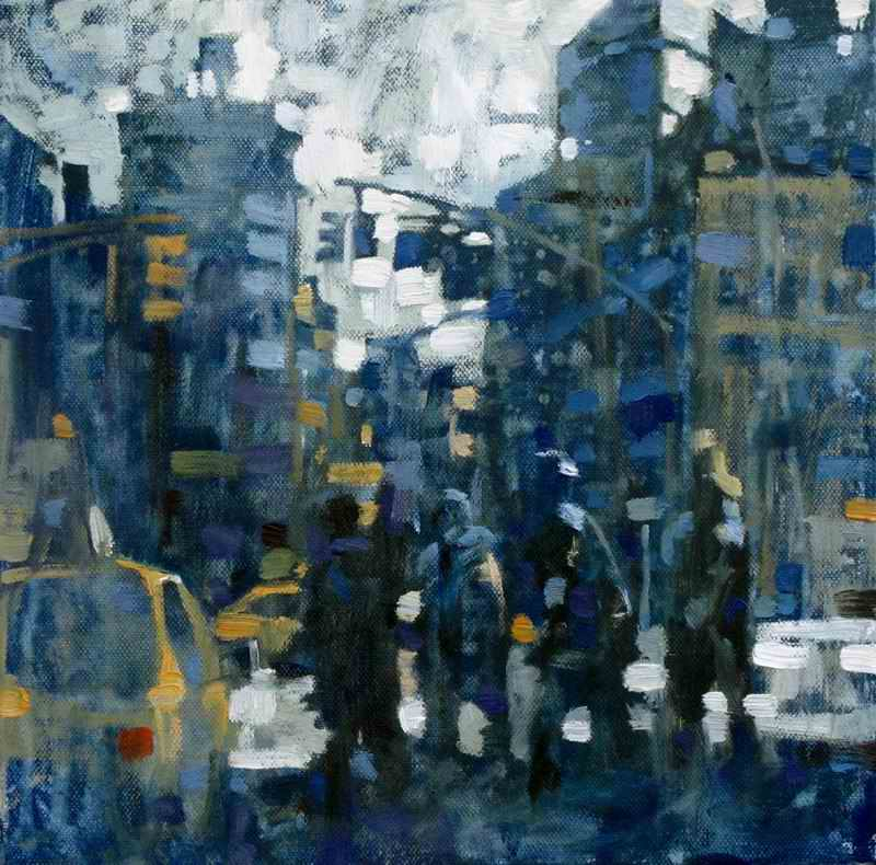 "David Hinchliffe ""Taxi Queue"" Oil on Canvas 12"" x 12"""