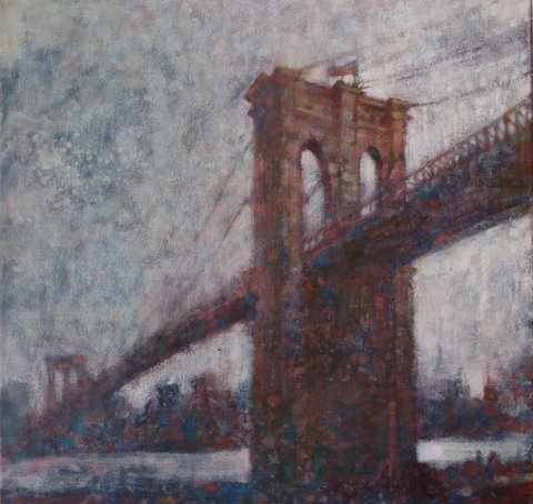 "David Hinchliffe ""Across to Brooklyn"" Oil on Canvas 18"" x 18"""