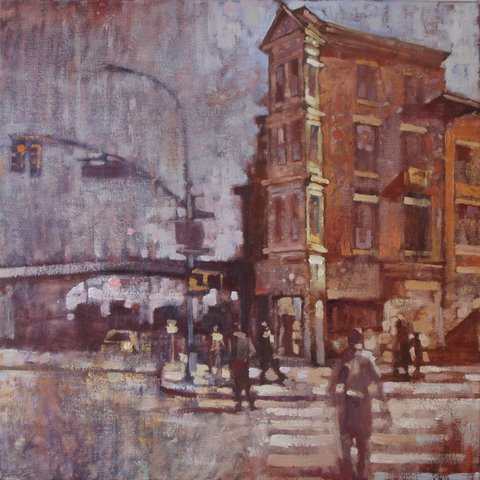 "David Hinchliffe ""Brooklyn"" Oil on Canvas 18"" x 18"""