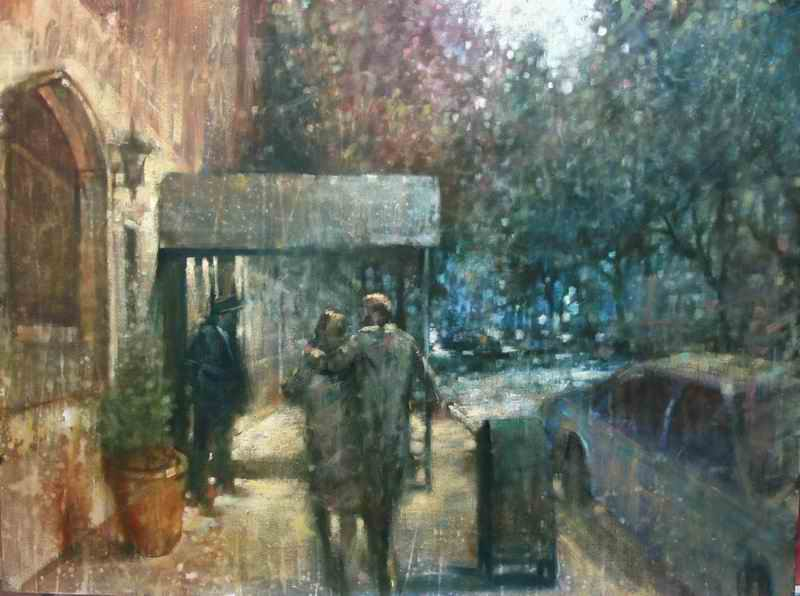 "David Hinchliffe ""Doorman, Upper East Side"" Oil on Canvas 30"" x 40"""