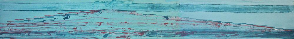 """Frederick Frazowatz """"Blue Mesa"""" Acrylic on Paper 1989 89.5"""" x 11.5"""""""