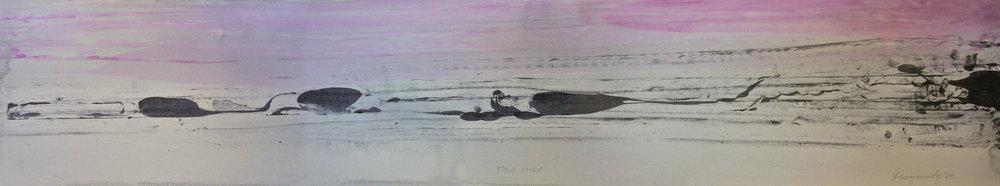 "Frederick Frazowatz ""Fish Story"" Acrylic on Paper 1989 45.75"" x 8.75"""