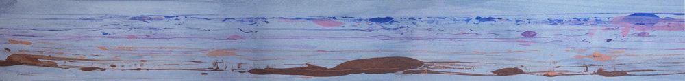 """Frederick Frazowatz """"Forgotten D """" Acrylic on Paper 1987 68"""" x 7.5"""""""