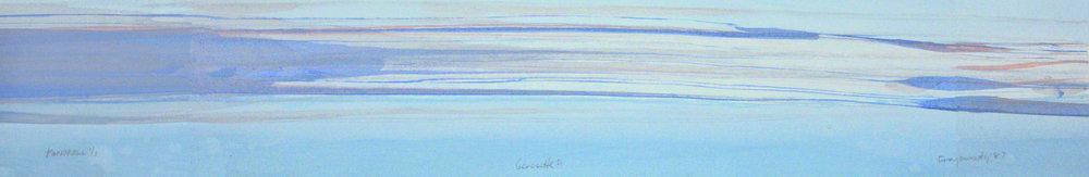 "Frederick Frazowatz ""Genesette A"" Acrylic on Paper 1987 37.5"" x 6.5"""