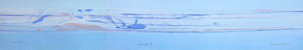 "Frederick Frazowatz ""Genesette B"" Acrylic on Paper 1987 37"" x 6.5"""