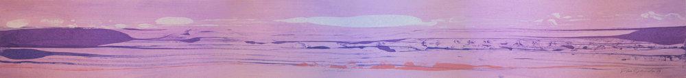 """Frederick Frazowatz """"Gwen Souinel"""" Acrylic on Paper 1989 69.5"""" x 8"""""""