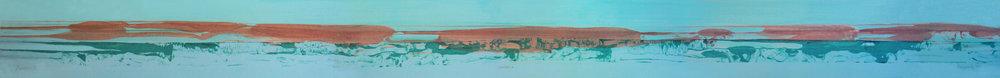 """Frederick Frazowatz """"Habitat A"""" Acrylic on Paper 1987 95.25"""" x 7.5"""""""