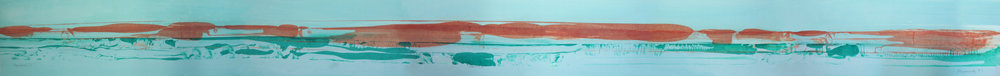 "Frederick Frazowatz ""Habitat B"" Acrylic on Paper 1987 94.5"" x 7.5"""