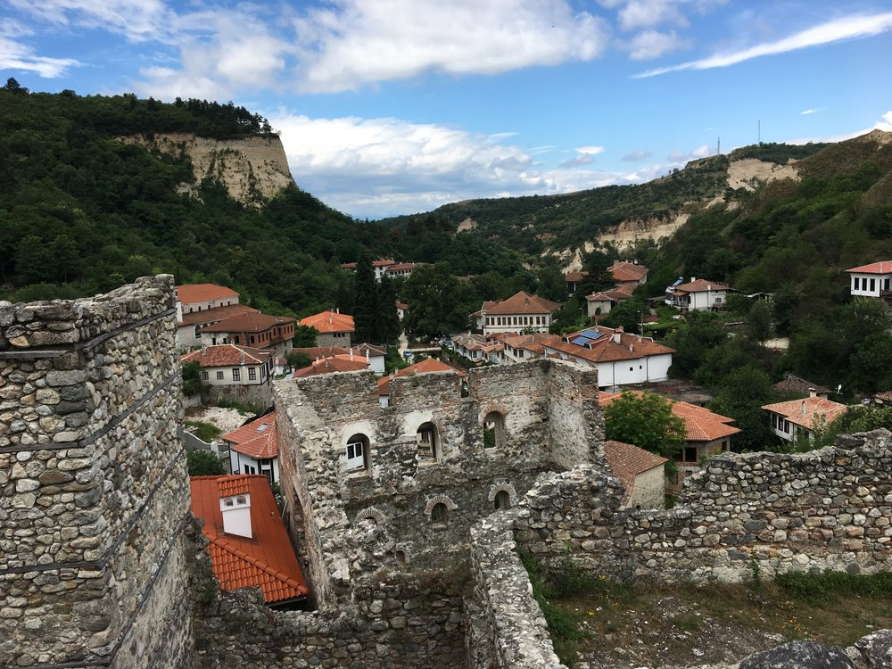 A view of Melnik from the medieval Boyar House - a partially restored fortress,dating back to the 13th century, residence of the local nobleman Despot Alexius Slav, a member of the influential Assen Dynasty