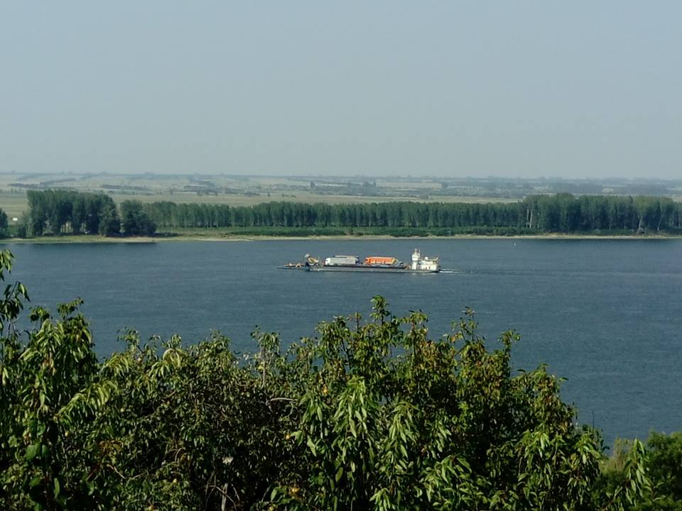 The Danube with a view of the ferry crossing from Romania