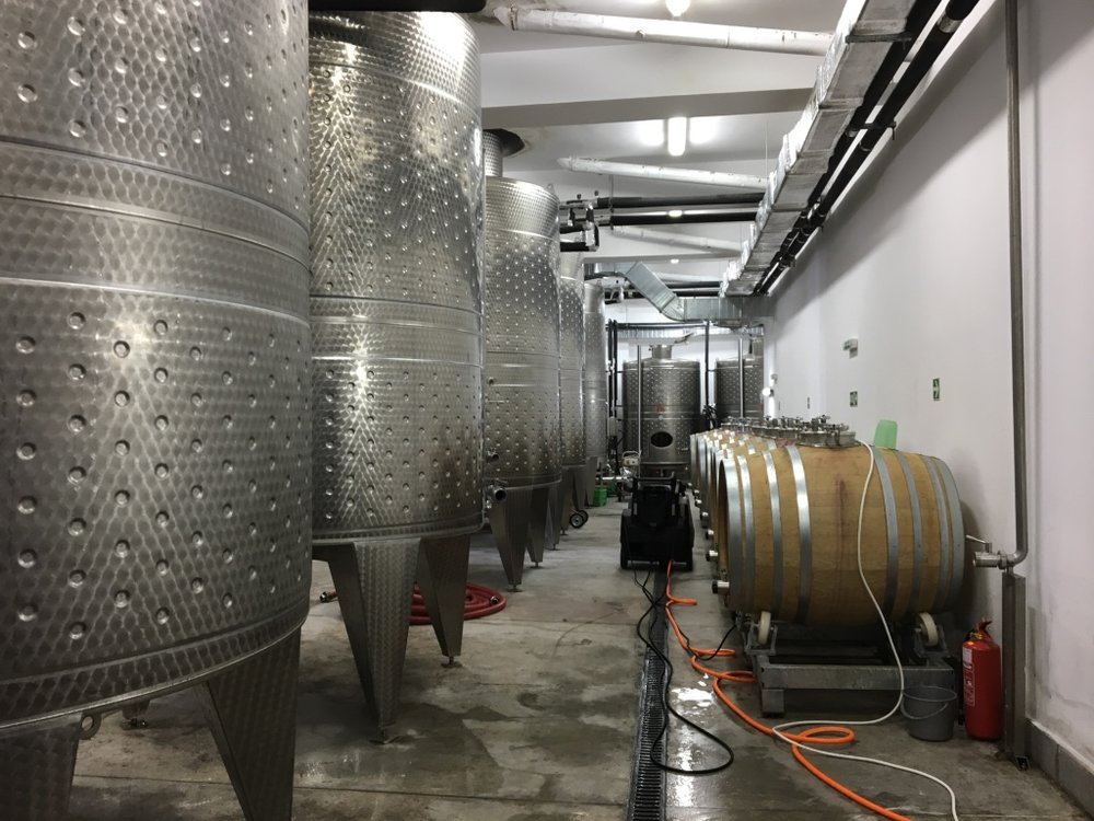 The wine vats at Orbelus Winery