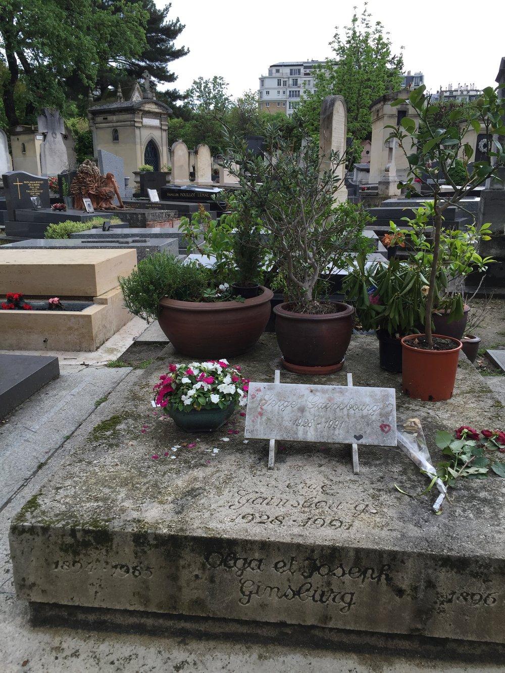 Serge Gainsbourg's grave atMontparnasse Cemetery in Paris