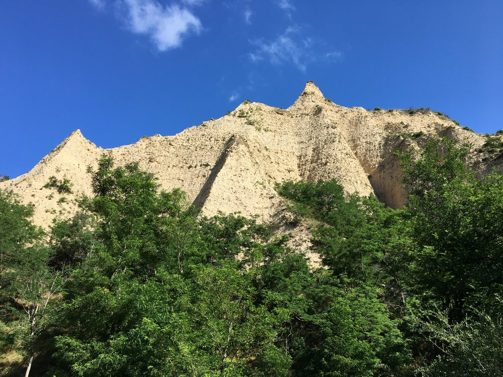 The sand pyramids, one of Melnik's unique attractions, are soaring natural sand and clay formations, a result of the erosive effect of winds, sun, rain, and snow .