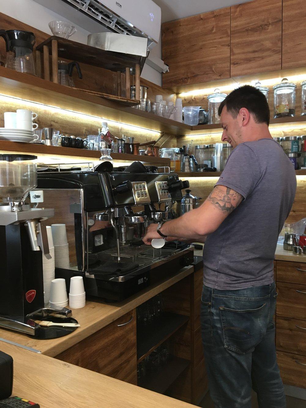 Expertly prepared espresso at Chuky's in Sofia