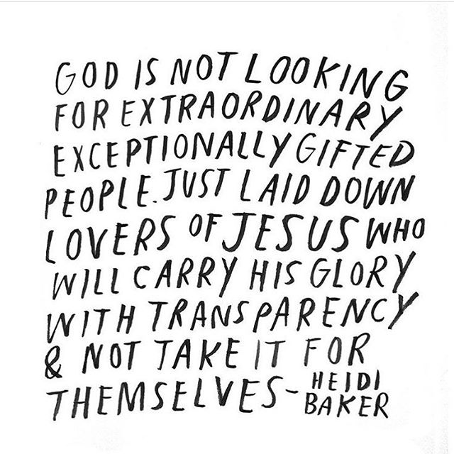 "Yes yes yes to this incredible Heidi Baker quote👆🏼🙏🏼All God needs is our YES! He is the one that qualifies us, not our ""list"" of things we've accomplished or how gifted we are. It's often times hard to remember, but it takes the pressure off of us feeling like we have to have all our ducks in a row to be used by Him. It's never been about us, but about giving Him glory✨"