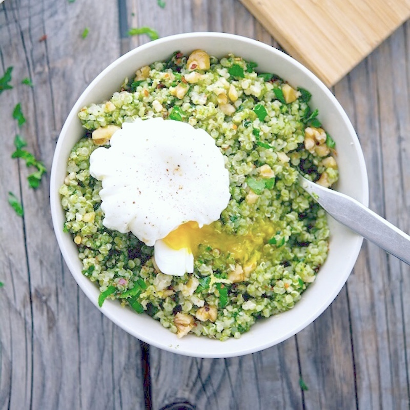 Healthy quinoa buddha bowl with pesto