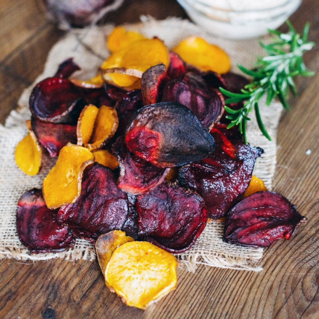 Beetroot and sweet potato crisps