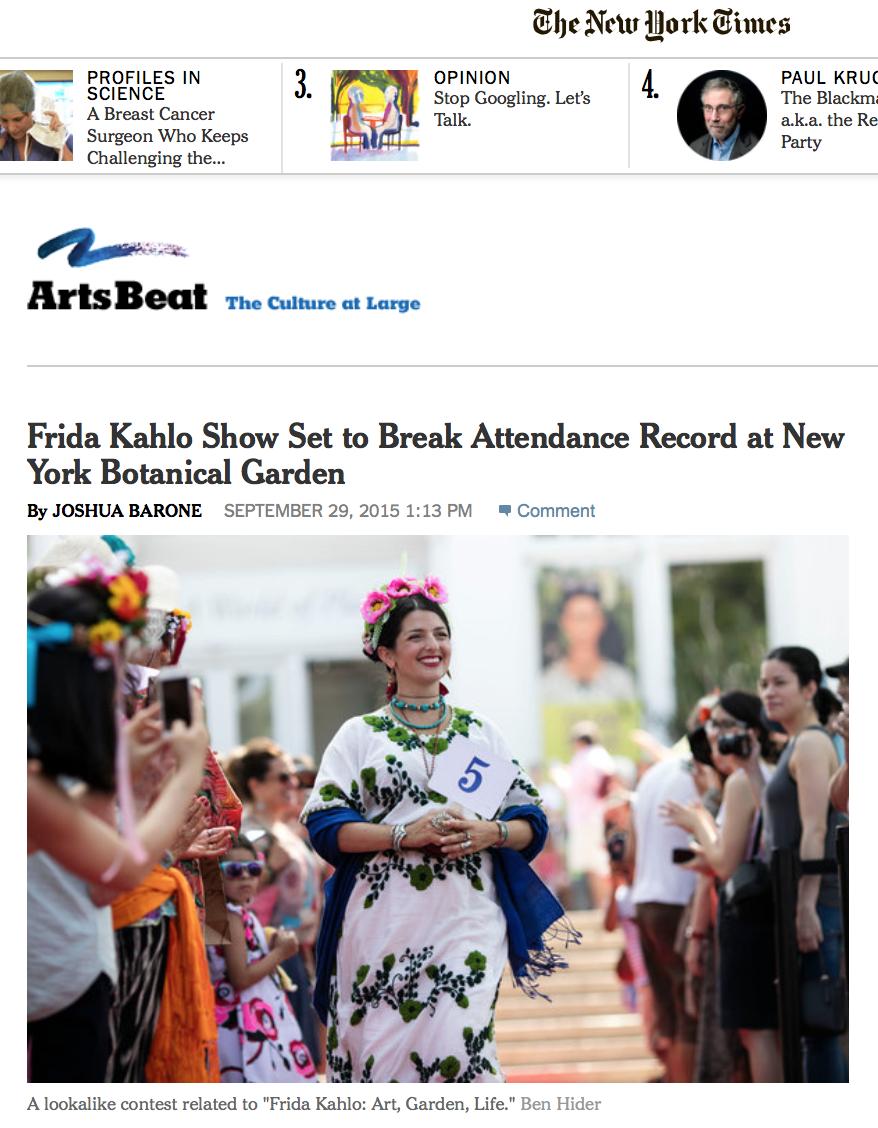 Frida Kahlo Exhibit NY Times NYBG Ben Hider