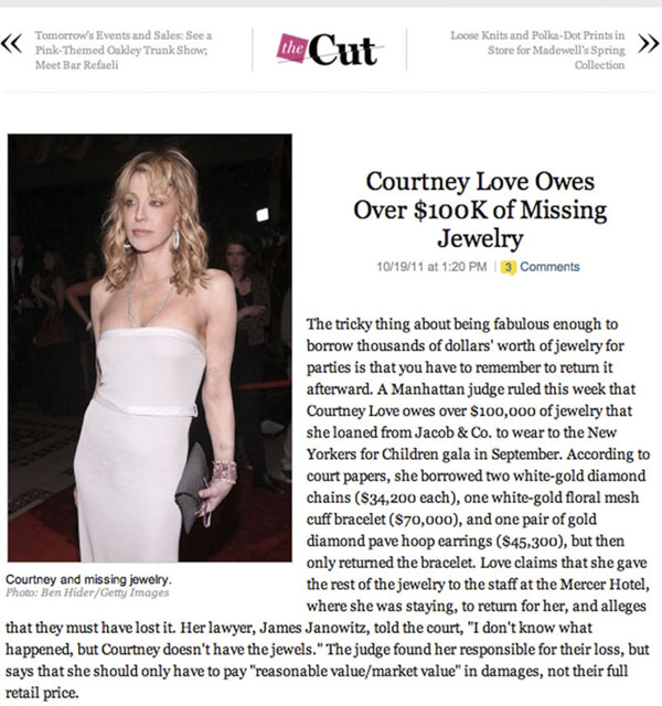 NY Press Photographer Tearsheet Published Professional Photographer New York City Ben Hider Courtney Love