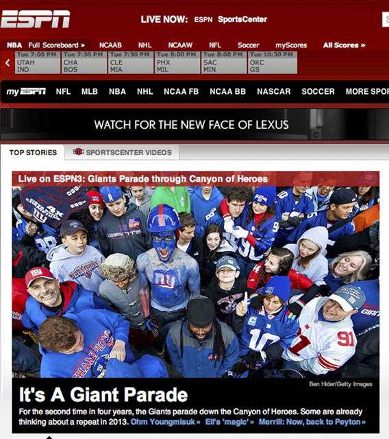 NY Press Photographer Tearsheet Published Professional Photographer New York City Ben Hider ESPN