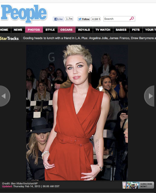 NY Press Photographer Tearsheet Published Professional Photographer New York City Ben Hider Miley Cyrus