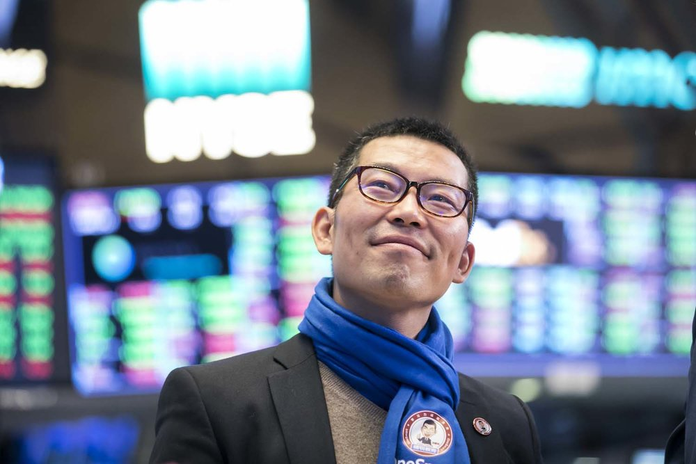 Onesmart CEO on the trading floor of NYSE