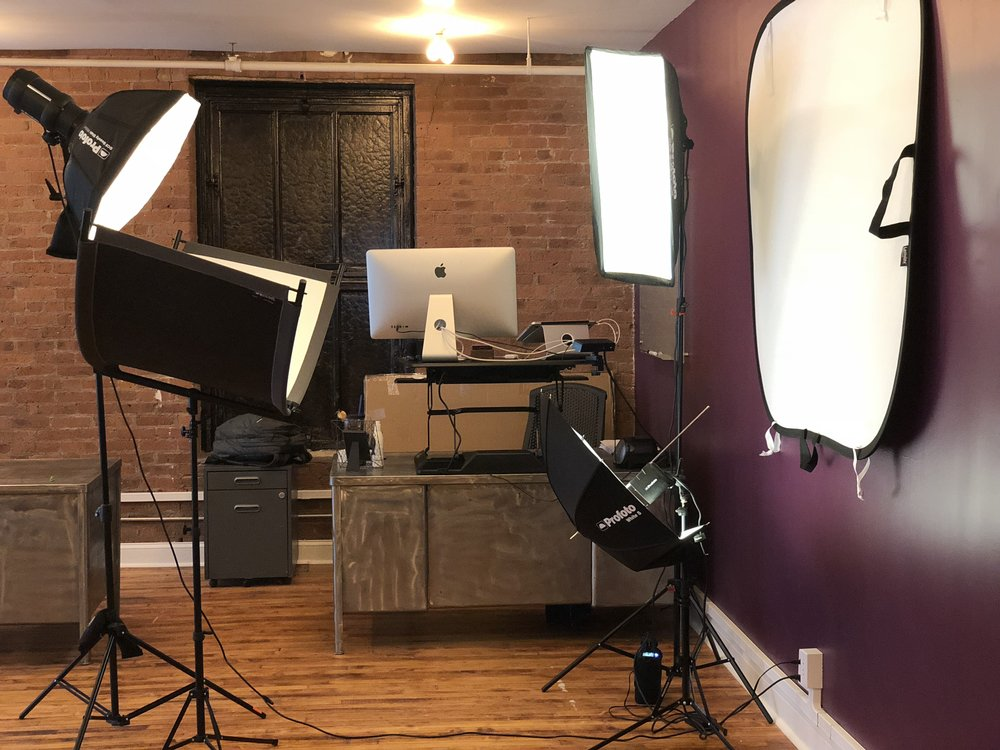 Profoto B2 and D1 lighting setup with Wescott Eyelight reflector at Proscenium in New York City