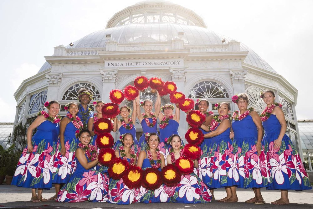 Group Photo of Hula Dancers with Flowers