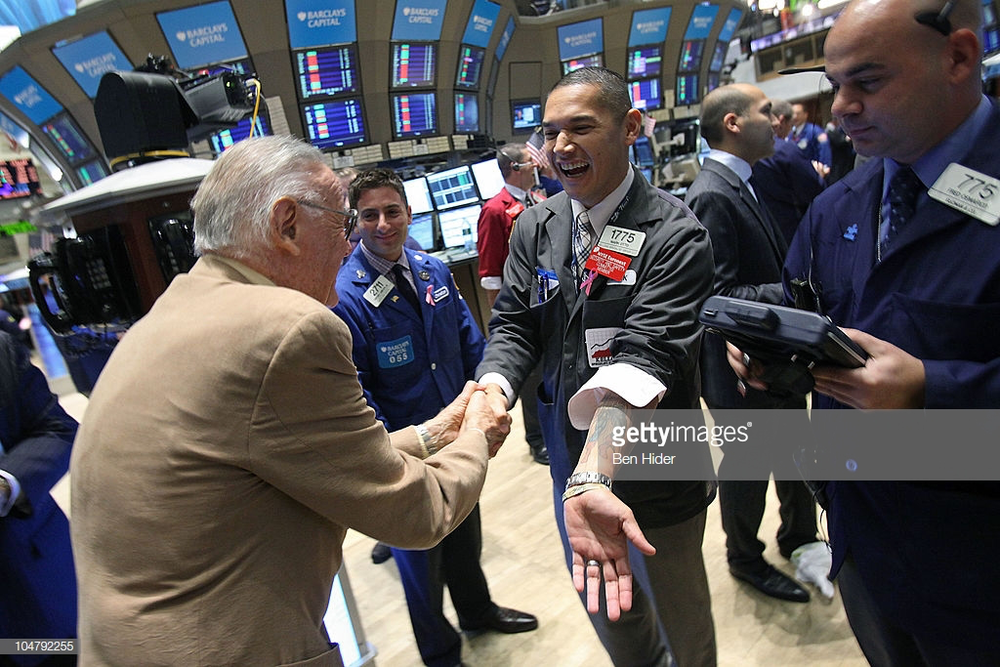 Author/Actor Stan Lee visits the New York Stock Exchange on October 5, 2010 in New York City.