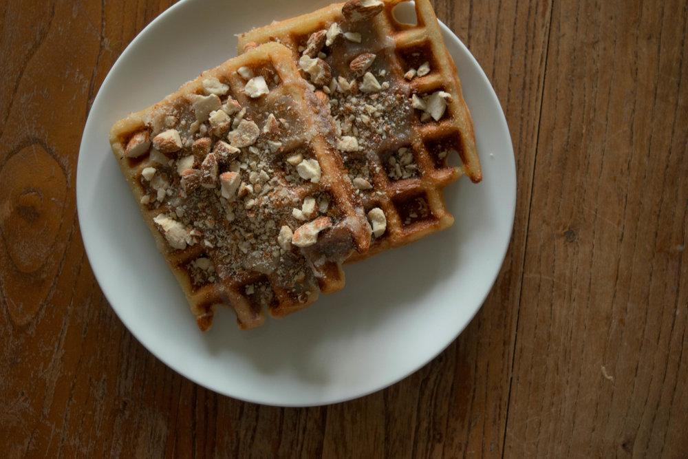 Caramel Almond Belgian Waffles | The Savour