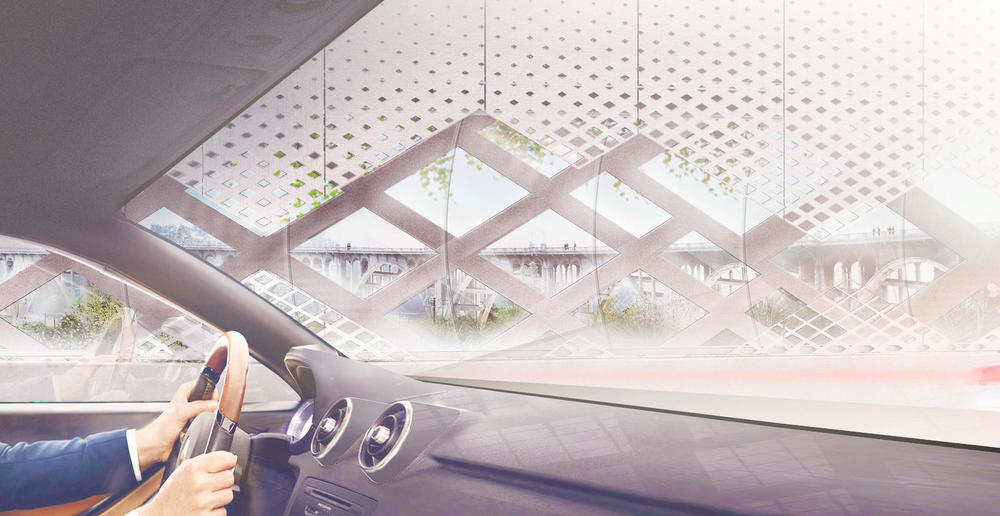 A rendering view from a car interior of the 134 Arroyo Seco Bridge project. (Michael Maltzan Architecture, Inc.)