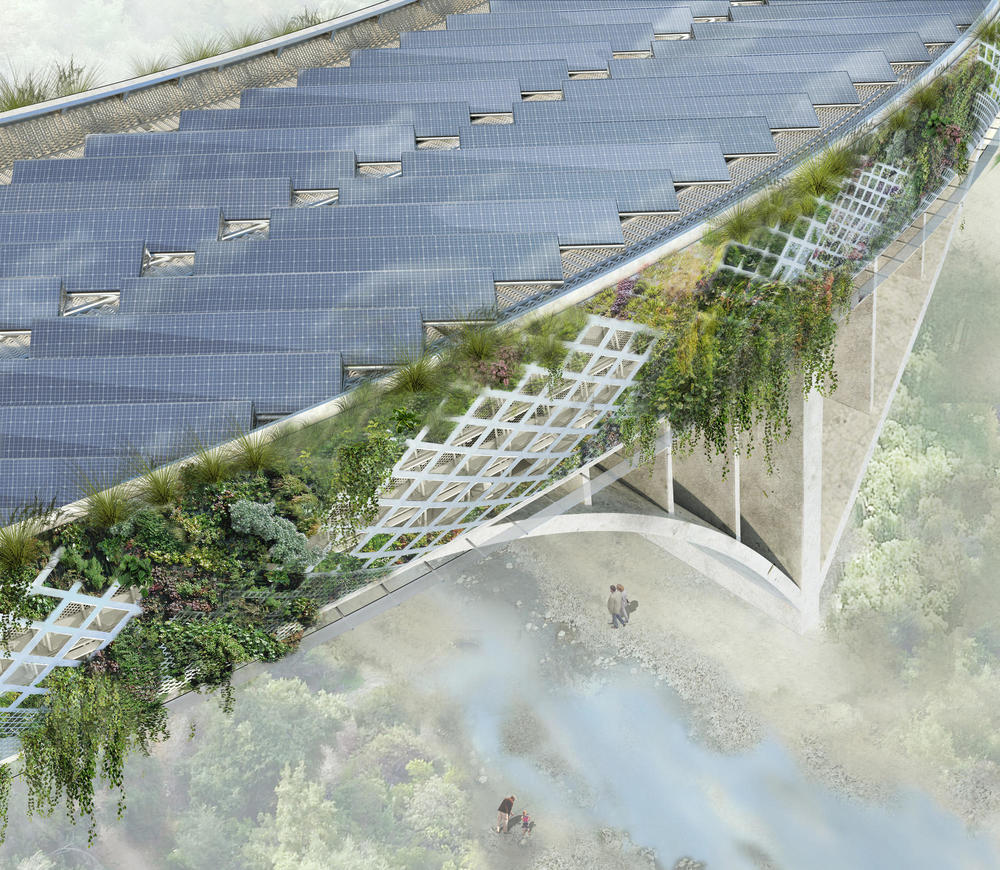 L.A. architect Michael Maltzan's proposes to put photovoltaic panels along the top of the 134 Freeway. ( Michael Maltzan Architecture, Inc.)