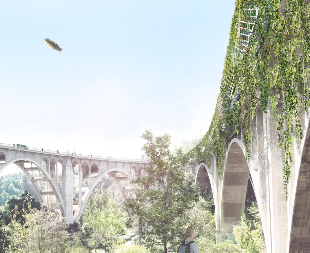 A rendering view from below of architect Michael Maltzan's plan to wrap the 134 Freeway as it crosses the Arroyo Seco in Pasadena with a tunnel-like form. (Michael Maltzan Architecture, Inc.)