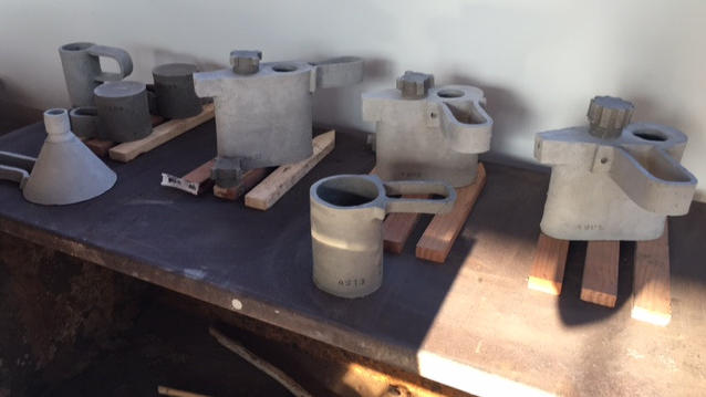 Clay coffee pots, before they've gone into the kiln, were inspired by the textures and shapes of the L.A. River. (Deborah Vankin/Los Angeles Times)