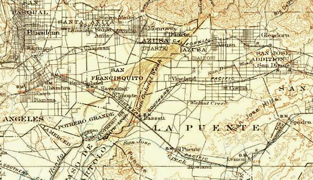 Well into the   20th  century, the upper San Gabriel River took a meandering course through a knot of shallow beds. The underlying geology allowed the billions of gallons of rainwater and snowmelt flowing out of the San Gabriel Valley to sink into the aquifer under the Central Basin. Map of the San Gabriel Wash in 1900 courtesy of the US Geological Survey Historical Topographic Maps.