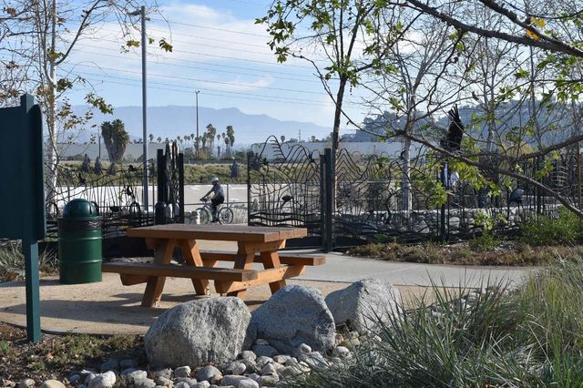 At Marsh Park in the Elysian Valley, amenities in the park and along the bike path that parallels the Los Angeles River invite users to play or relax