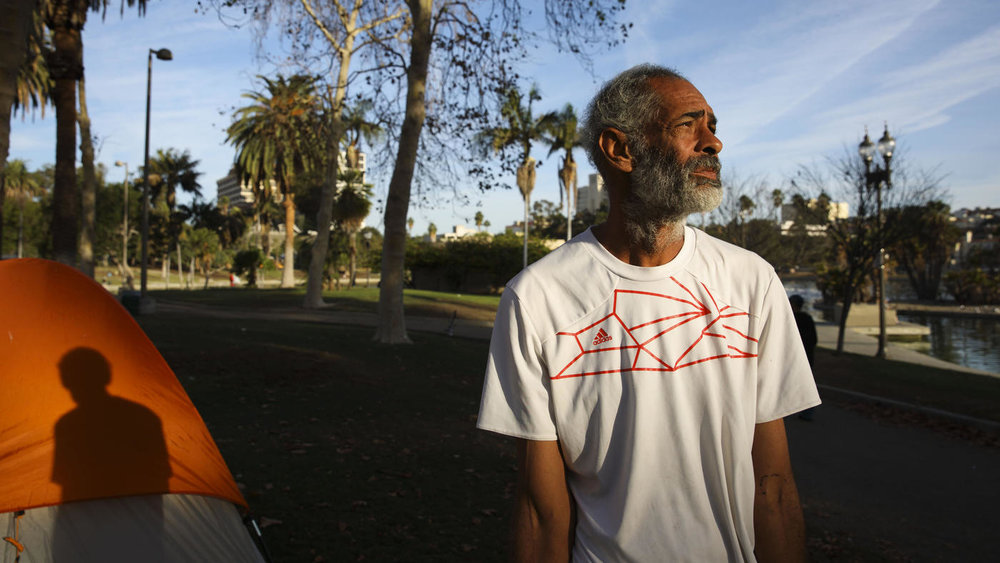 Patrick T. Fallon / For The Times  Sean Roberts, 52, is homeless and lives in a tent by the lake at MacArthur Park.