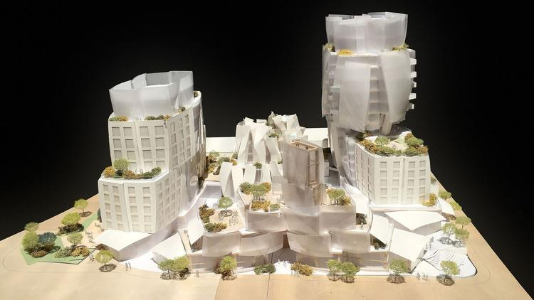 A model of the 8150 Sunset Blvd. project, which has qualified for fast-track litigation under the state's main environmental law governing develoment.   (Photo Courtesy Gehry Partners, LLP)
