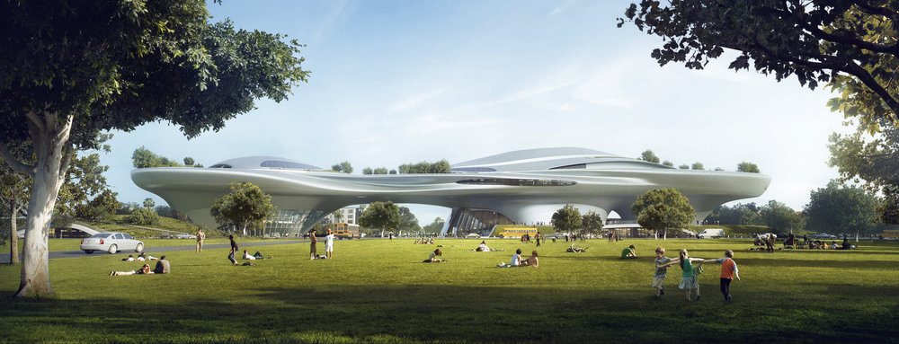 Ma Yansong's Exposition Park design for the  Lucas Museum of Narrative Art  would have parkland at its feet. Lucas Museum of Narrative Art