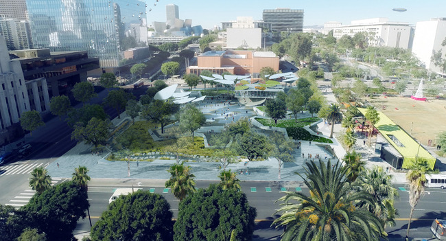"n June, the city announced the winner of the FAB Park competition. Lehrer describes the scheme, by OMA, IDEO, and Mia Lehrer + Associates, as ""a symbiotic relationship between architecture and landscape architecture.""   Courtesy Mia Lehrer + Associates"