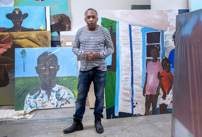 The artist Henry Taylor in his downtown Los Angeles studio. Some of his recent portraits will be exhibited at the Whitney Biennial.     CreditMonica Almeida/The New York Times
