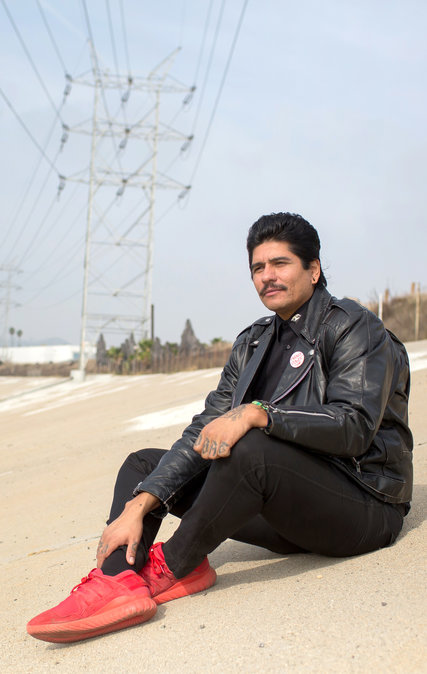 Rafa Esparza at the Los Angeles River.  CreditMonica Almeida/The New York Times