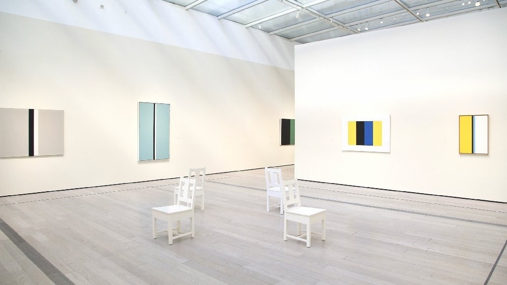 "Installation view of ""John McLaughlin Paintings: Total Abstraction"" at LACMA. (Kirk McKoy / Los Angeles Times)"
