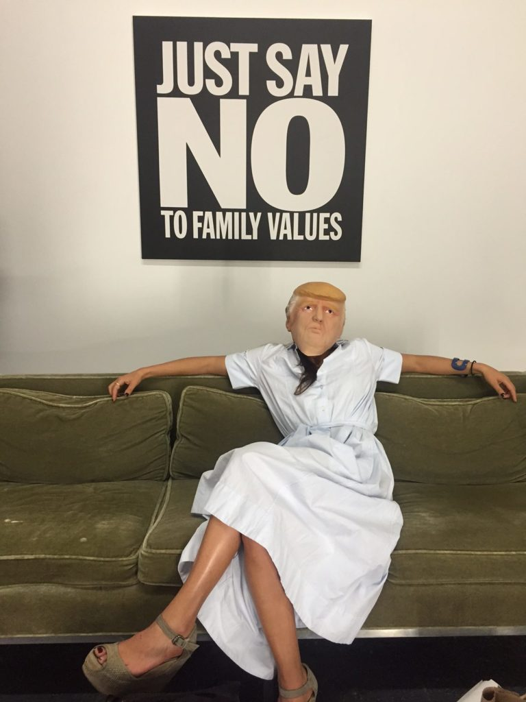 A guest dons a Donald Trump mask at Jonathan Horowitz's 2016 Presidential Debate Party at Gavin Brown Harlem. Courtesy of Gavin Brown's Enterprise.