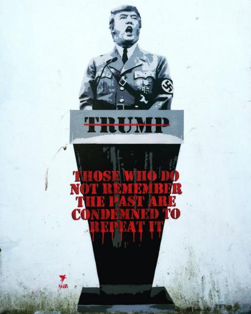 Pegasus's graphic comparing Trump to Adolf Hitler.